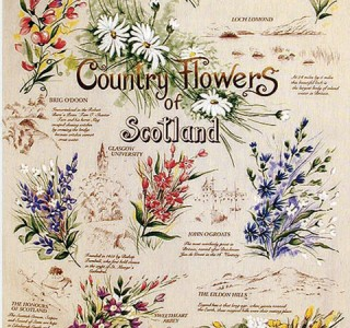 3998-1153 - Country Flowers of Scotland Tea Towel