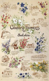 3998-1175 - Country Flowers of Yorkshire Tea Towel